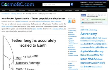 http://astroblog.cosmobc.com/2011/01/21/non-rocket-spacelaunch-tether-propulsion-safety-issues/