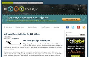 http://diymusician.cdbaby.com/2011/06/myspace-close-to-selling-for-30-million/