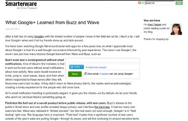 http://smarterware.org/8248/what-google-learned-from-buzz-and-wave