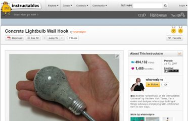 http://www.instructables.com/id/Concrete-Lightbulb-Wall-Hook/