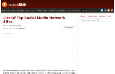 http://www.instantshift.com/2008/10/19/list-of-top-social-media-network-sites/