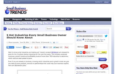 http://smallbiztrends.com/2011/06/5-hot-industries-small-business.html
