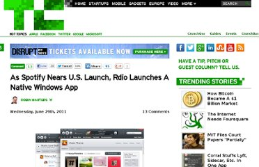 http://techcrunch.com/2011/06/29/as-spotify-nears-u-s-launch-rdio-launches-native-windows-app/