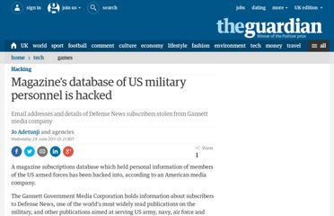http://www.guardian.co.uk/technology/2011/jun/29/hackers-us-military-magazine-defense-news