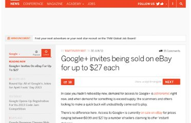 http://thenextweb.com/google/2011/06/30/google-invites-being-sold-on-ebay-for-up-to-27-each/