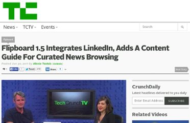http://techcrunch.com/2011/06/30/flipboard-1-5-integrates-linkedin-adds-a-content-guide-for-curated-social-browsing/