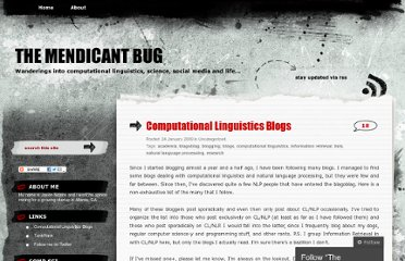 http://mendicantbug.com/2009/01/24/computational-linguistics-blogs/