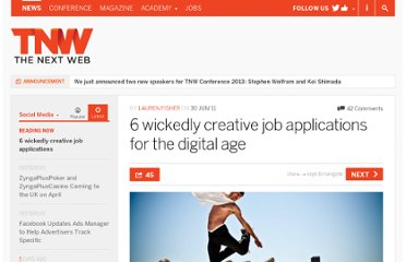 http://thenextweb.com/socialmedia/2011/06/30/6-wickedly-creative-job-applications-for-the-digital-age/