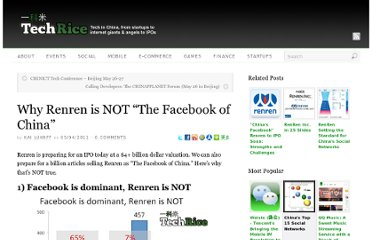 http://techrice.com/2011/05/04/why-renren-is-not-the-facebook-of-china/