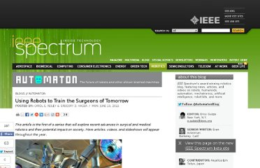 http://spectrum.ieee.org/automaton/robotics/medical-robots/using-robots-to-train-the-surgeons-of-tomorrow