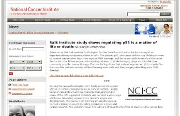 http://www.cancer.gov/newscenter/pressreleases/2011/SalkInstituteStudyregulatingp53