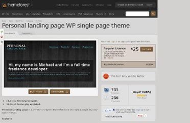http://themeforest.net/item/personal-landing-page-wp-single-page-theme/52398