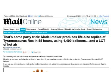 http://www.dailymail.co.uk/news/article-2009036/Thats-party-trick-Model-maker-produces-life-size-replica-Tyrannosaurus-Rex-55-hours-using-1-400-balloons--LOT-hot-air.html