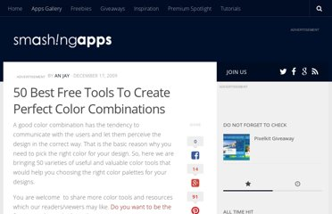 http://www.smashingapps.com/2009/12/17/50-best-free-tools-to-create-perfect-color-combinations.html