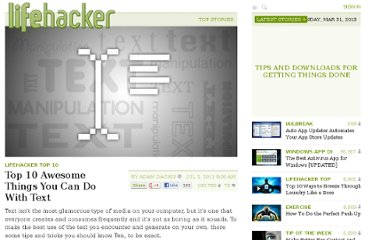 http://lifehacker.com/5817628/top-10-awesome-things-you-can-do-with-text