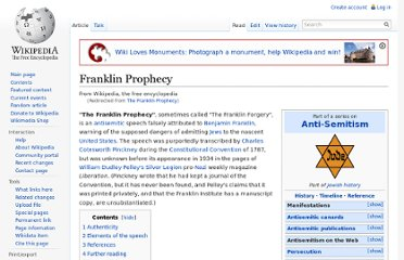 http://en.wikipedia.org/wiki/The_Franklin_Prophecy