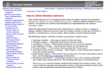 http://download.oracle.com/javase/tutorial/uiswing/events/windowlistener.html