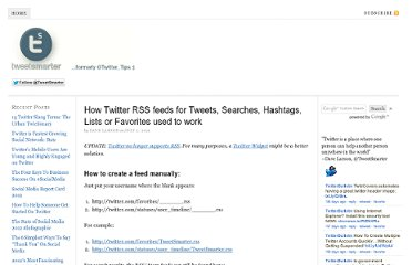 http://blog.tweetsmarter.com/twitter-tools/create-a-twitter-rss-feed-for-anyones-tweets-or-favorites/