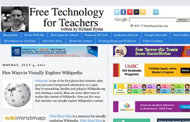 http://www.freetech4teachers.com/2011/07/five-ways-to-visually-explore-wikipedia.html