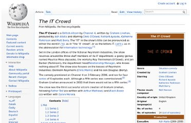 http://en.wikipedia.org/wiki/The_IT_Crowd