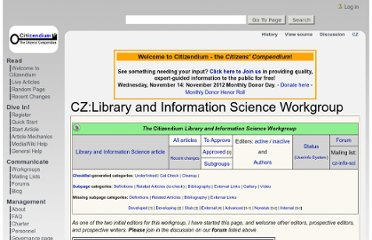 http://en.citizendium.org/wiki/CZ:Library_and_Information_Science_Workgroup