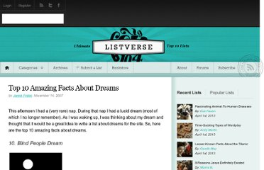 http://listverse.com/2007/11/14/top-10-amazing-facts-about-dreams/