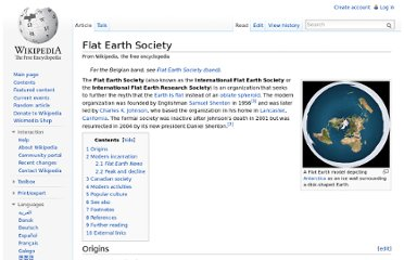 http://en.wikipedia.org/wiki/Flat_Earth_Society