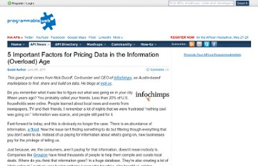 http://blog.programmableweb.com/2011/06/08/5-important-factors-for-pricing-data-in-the-information-overload-age/
