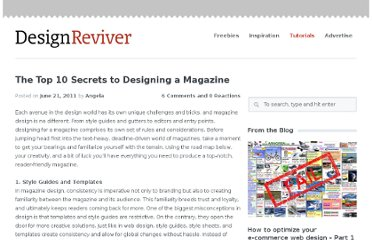 http://designreviver.com/tutorials/the-top-10-secrets-to-designing-a-magazine/