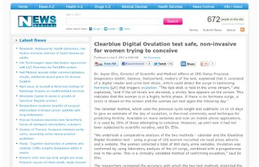 http://www.news-medical.net/news/20110705/Clearblue-Digital-Ovulation-test-safe-non-invasive-for-women-trying-to-conceive.aspx