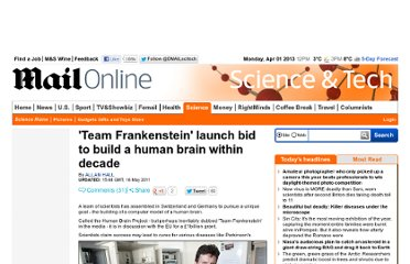 http://www.dailymail.co.uk/sciencetech/article-1387537/Team-Frankenstein-launch-bid-build-human-brain-decade.html