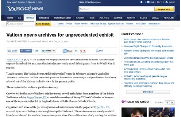 http://news.yahoo.com/vatican-opens-archives-unprecedented-exhibit-113656776.html
