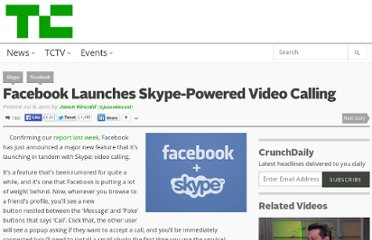 http://techcrunch.com/2011/07/06/facebook-launches-skype-powered-video-calling/