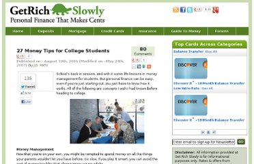 http://www.getrichslowly.org/blog/2006/08/30/27-money-tips-for-college-students/