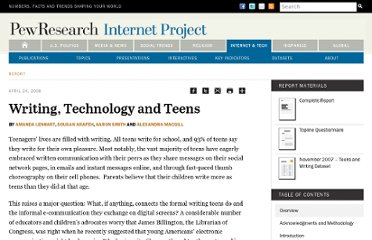 http://www.pewinternet.org/Reports/2008/Writing-Technology-and-Teens/01-Summary-of-Findings.aspx
