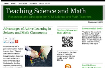 http://www.teachscienceandmath.com/2011/07/06/advantages-of-active-learning-in-science-and-math-classrooms/