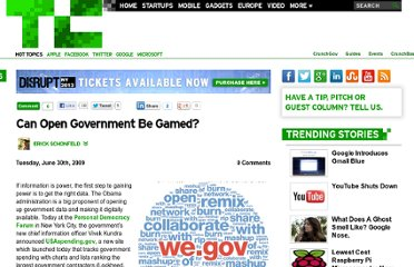 http://techcrunch.com/2009/06/30/can-open-government-be-gamed/