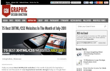 http://graphicdesignjunction.com/2011/07/75-best-xhtmlcss-websites-in-the-month-of-july-2011/