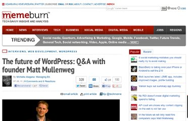 http://memeburn.com/2011/07/the-future-of-wordpress-qa-with-founder-matt-mullenweg/