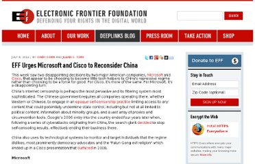 https://www.eff.org/deeplinks/2011/07/eff-urges-microsoft-and-cisco-to-reconsider-china
