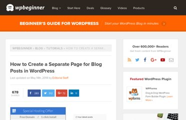http://www.wpbeginner.com/wp-tutorials/how-to-create-a-separate-page-for-blog-posts-in-wordpress/