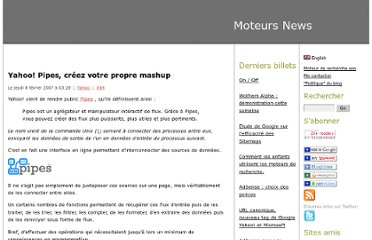 http://www.moteurs-news.com/blog/index.php/2007/02/08/84-yahoo-pipes-creez-votre-propre-mashup
