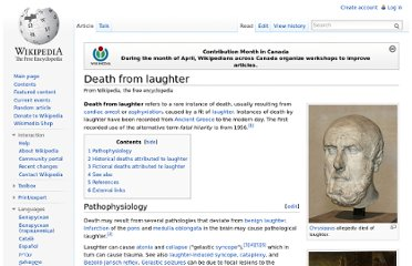 http://en.wikipedia.org/wiki/Death_from_laughter