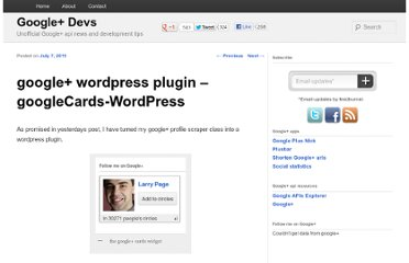 http://plusdevs.com/google-wordpress-plugin/