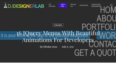 http://djdesignerlab.com/2011/07/08/16-jquery-menus-with-beautiful-animations-for-developers/