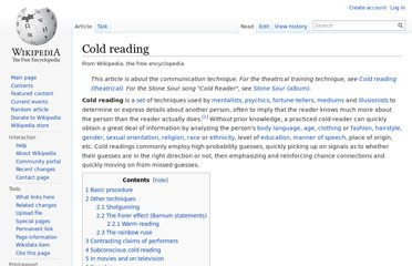 http://en.wikipedia.org/wiki/Cold_reading