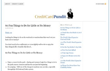 http://creditcardpundit.com/60-things-to-do-for-little-or-no-money/