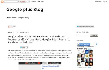 http://googlepluses.blogspot.com/2011/07/google-plus-posts-to-facebook-and.html