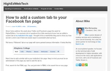 http://highedwebtech.com/2009/06/19/how-to-add-a-custom-tab-to-your-facebook-fan-page/