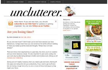http://unclutterer.com/2011/06/28/are-you-losing-time/